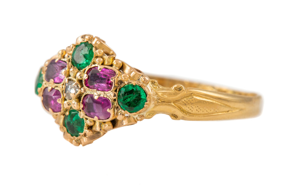 Victorian 18ct Gold Diamond Emerald Ruby Cluster Ring