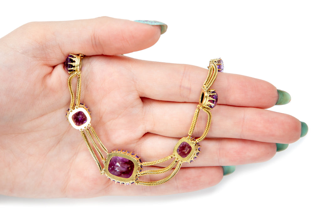 Victorian 18ct Gold Gilt Amethyst Swag Necklace (31.50ct), 16""
