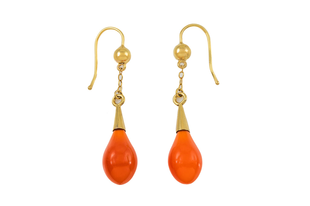 Victorian Gold Carnelian Drop Earrings with 18ct Gold Hooks