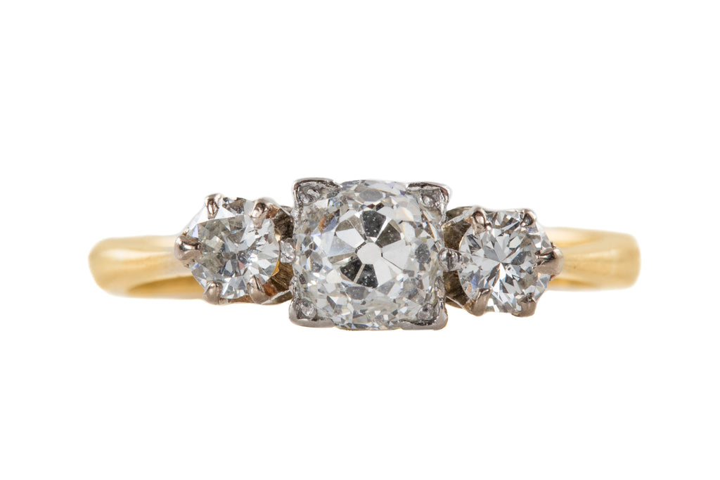 Art Deco 15ct Gold Diamond Trilogy Engagement Ring (1.00ct)