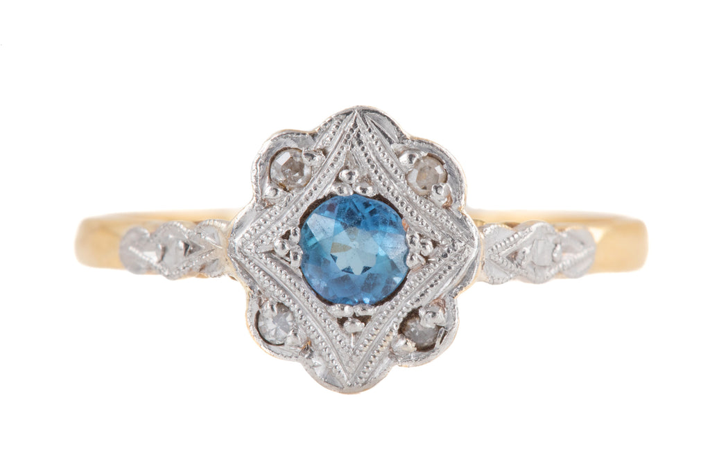 Art Deco 18ct Gold Sapphire Diamond Cluster Ring