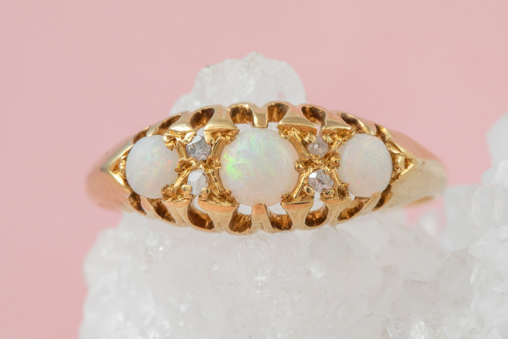 Antique 18ct Gold Opal Diamond Boat Ring (0.38ct) c.1919
