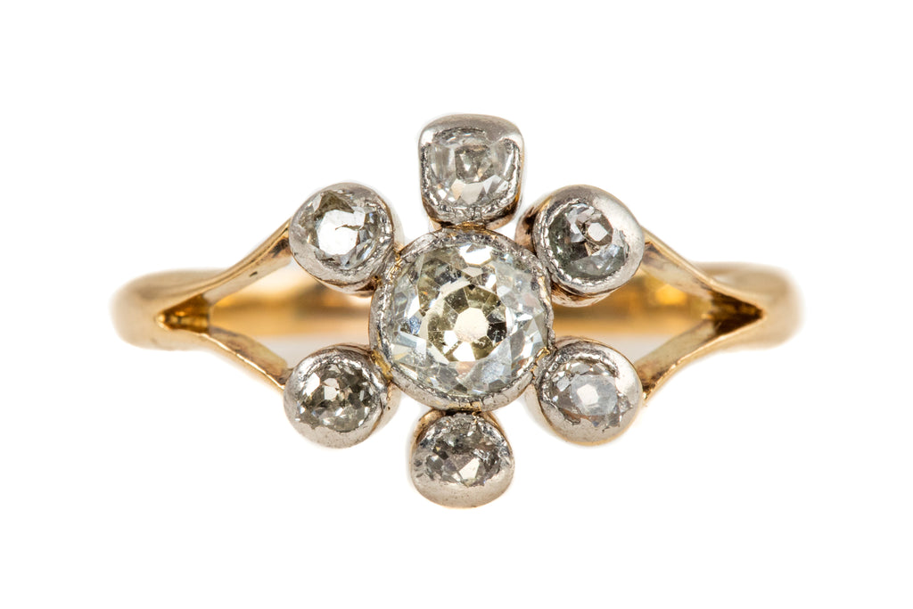 Antique 18ct Gold Diamond Flower Ring, (0.58ct)