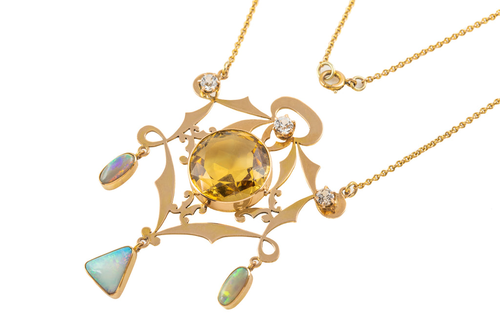 "Arts and Crafts 15ct Gold Citrine Opal Sapphire Pendant, with 15"" Integral Chain"
