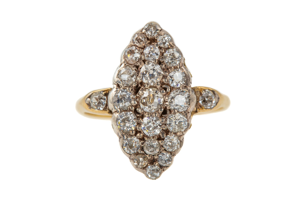 Victorian 18ct Gold Navette Diamond Cluster Ring, (1.40ct)
