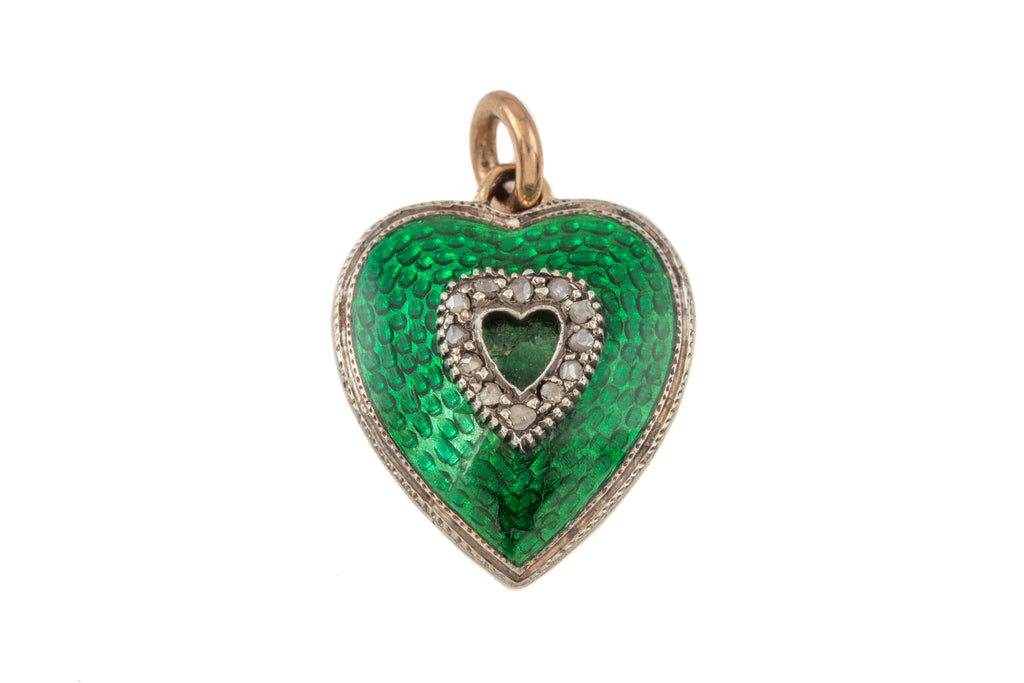 Edwardian 15ct Gold Enamel Heart Diamond Pendant, with Locket Back