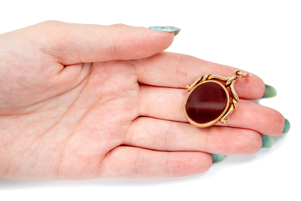 Victorian 15ct Gold Bloodstone Carnelian Spinner Fob, c.1880