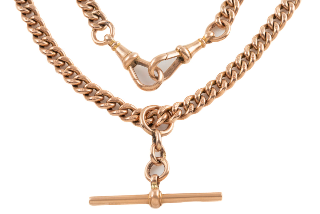 "Victorian Rose Gold Curb Link Albert Chain, 16"" (50.4g)"
