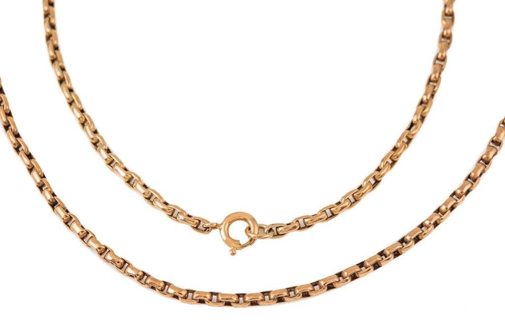 "Victorian Rose Gold Rectangular Belcher Chain, 21 & 1/2"" (9.6g)"