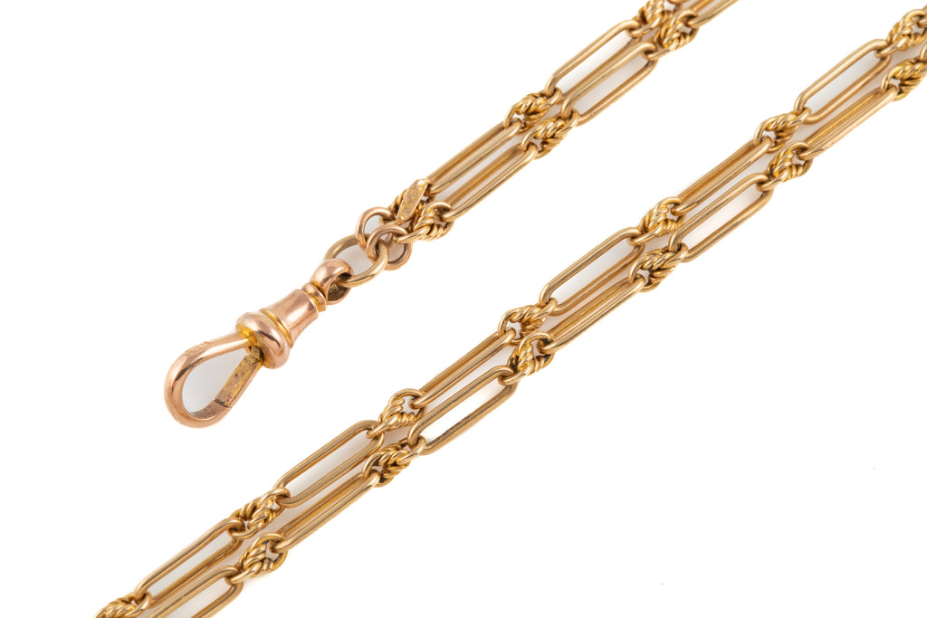 "Late Victorian Gold Trombone Lover's Knot Chain, 39 & 1/4"" (19.8g)"