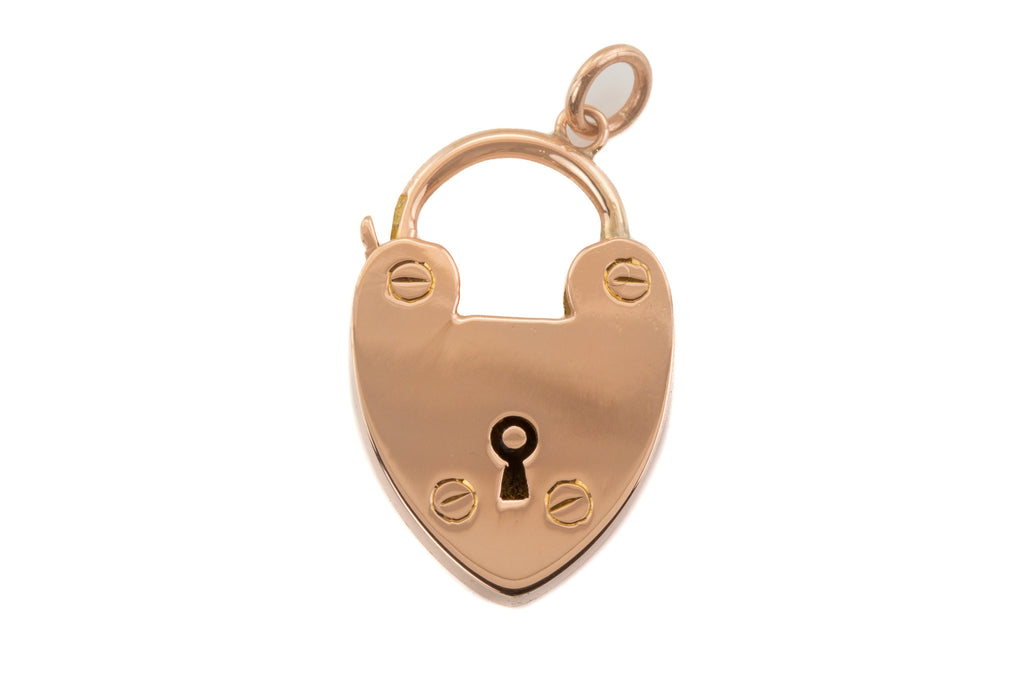 Edwardian 9ct Gold Padlock Heart Charm, c.1906