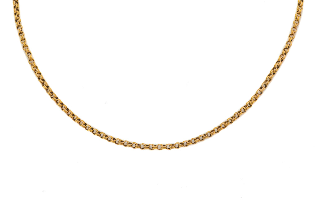 "18"" Antique 15ct Gold Grooved Belcher Chain (5.5g)"