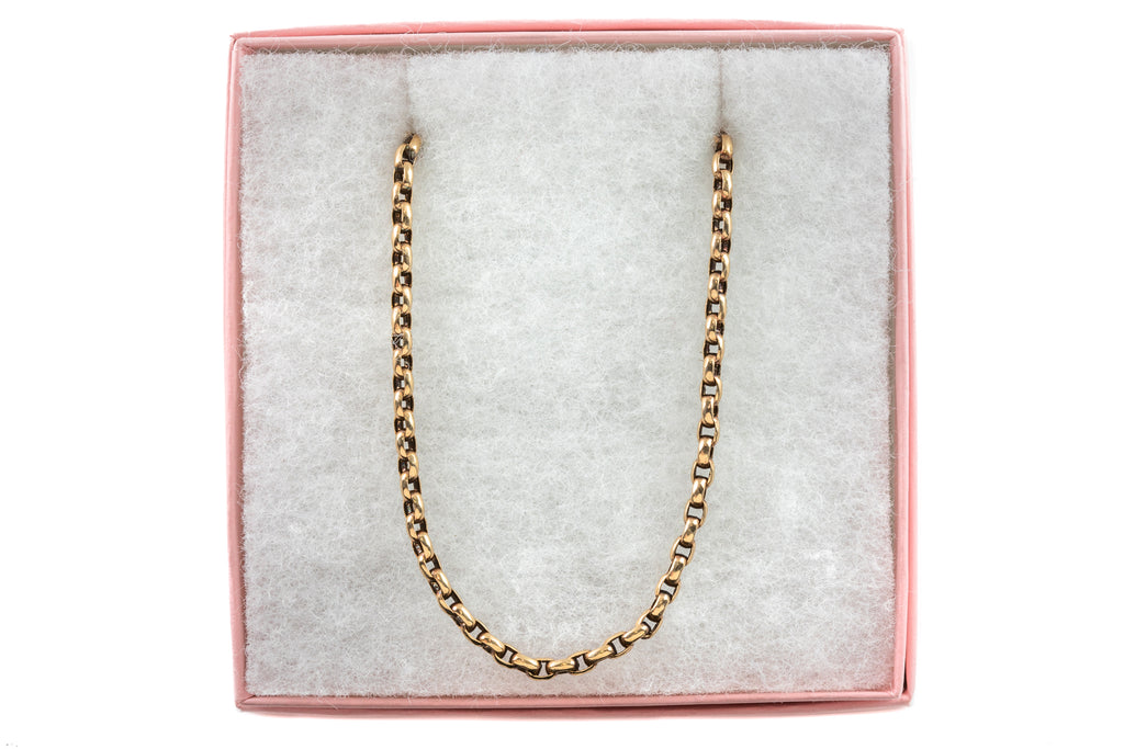 "Victorian 12ct Gold Rectangular Belcher Chain, 22 & 1/2"" (14.9g)"