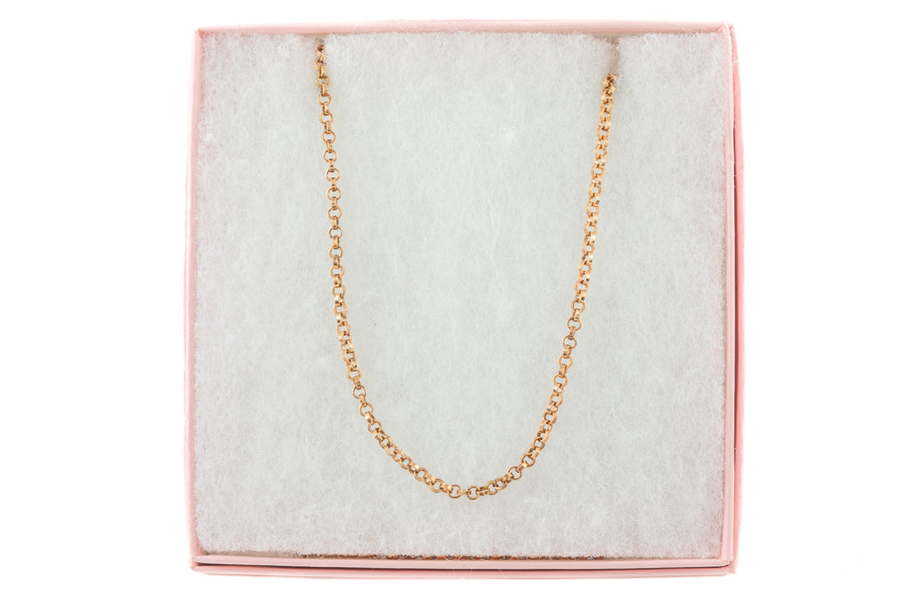 "Antique Rose Gold Belcher Chain with Barrel Clasp, 18"" (6g)"