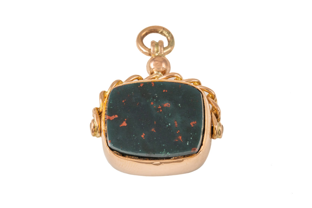 Antique Gold Carnelian Bloodstone Spinner Fob, c.1913