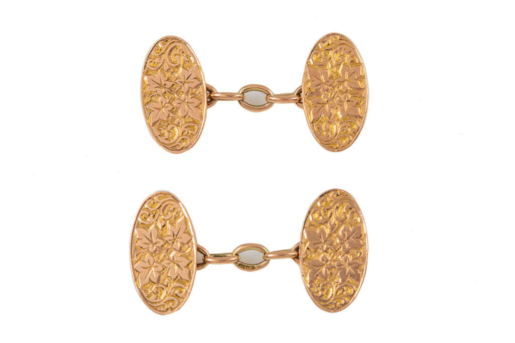 Art Deco Gold Oval Ivy Leaf Cufflinks, c.1921