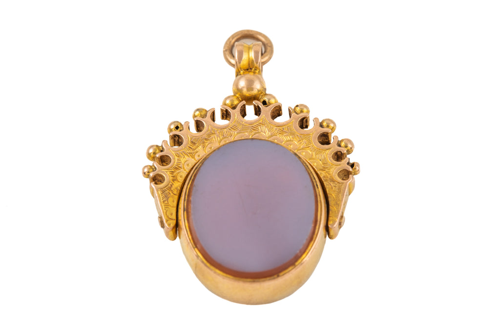 Victorian 10ct Gold Bloodstone Agate Spinner Fob