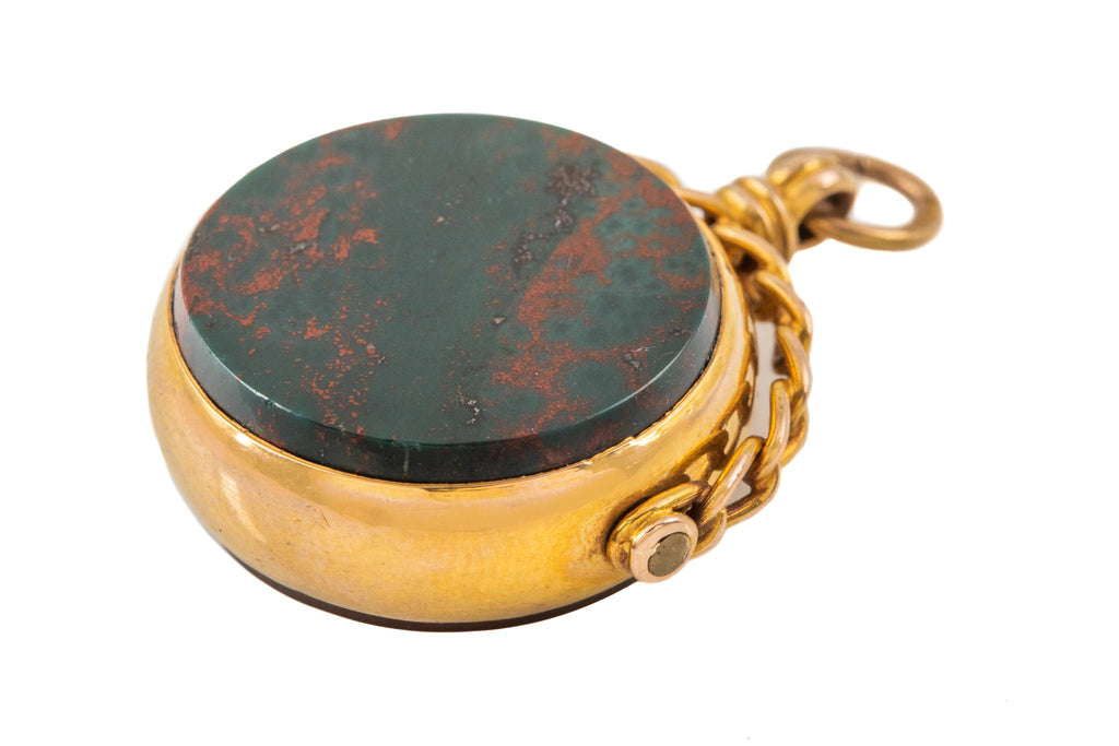 Antique Gold Bloodstone Carnelian Spinner Fob, c.1911