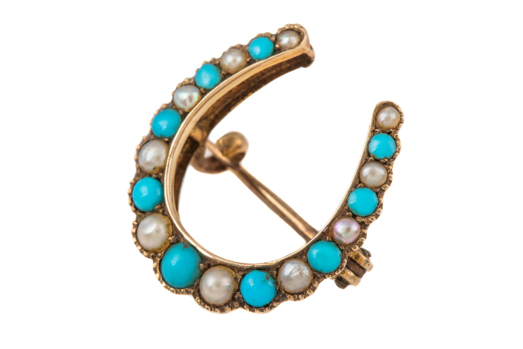 Antique Gold Turquoise Pearl Horseshoe Brooch