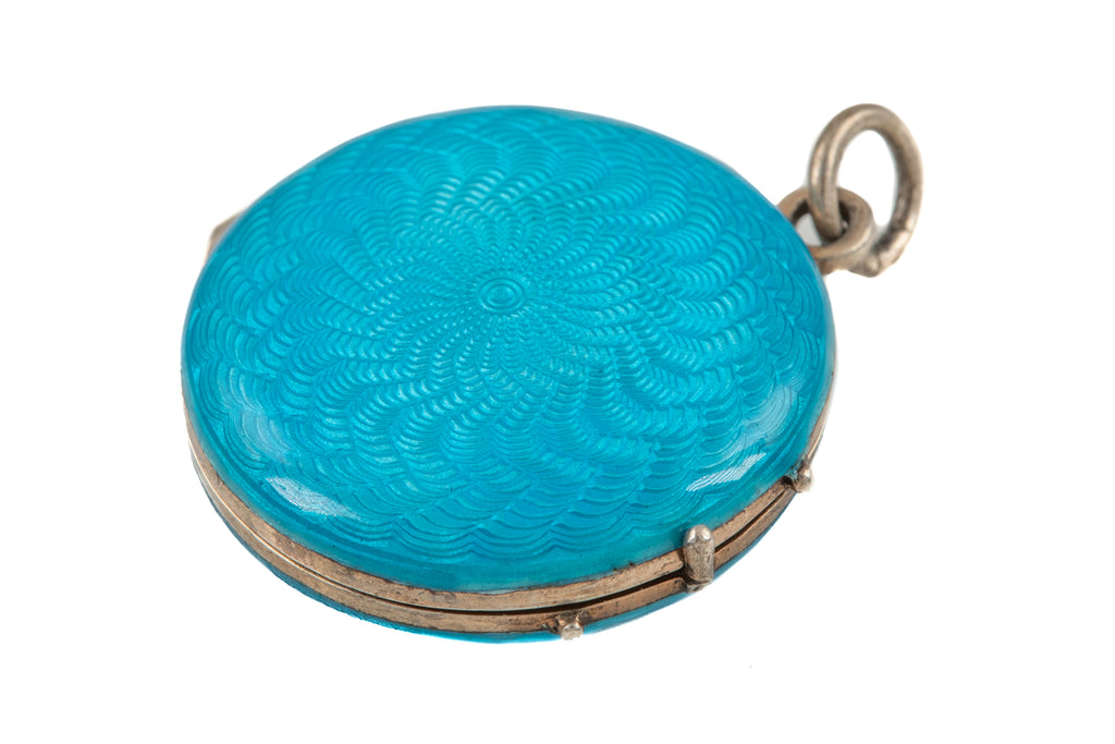 Art Nouveau Silver Blue Enamel Guilloché Locket