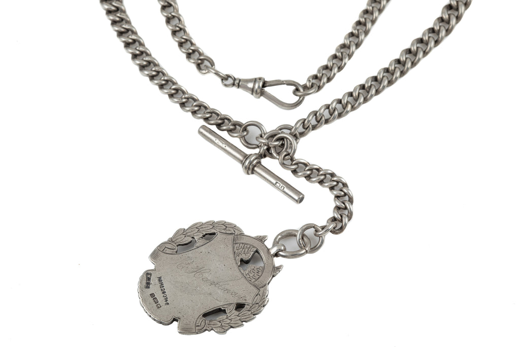 "Antique Heavy Silver Albert Chain with T-bar and Medal, 27"" (102.6g)"