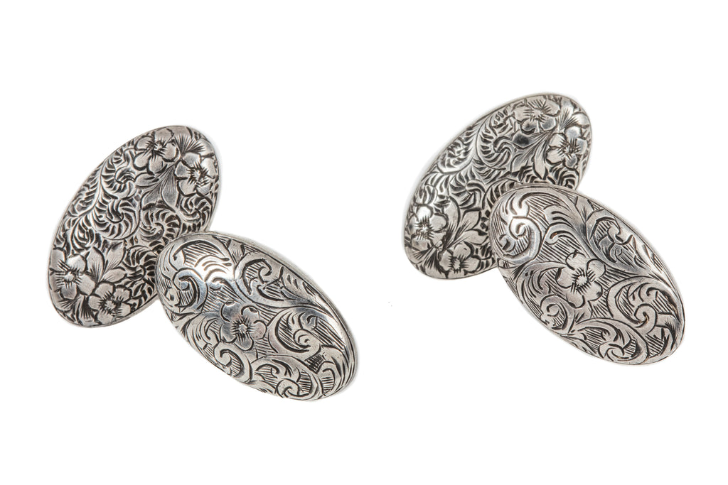 Victorian Silver Chased Oval Cufflinks