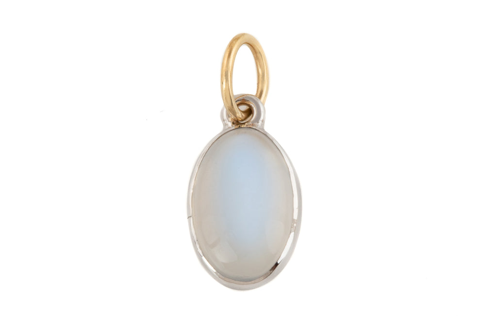 Art Deco White Gold Moonstone Pendant, (3.10ct)