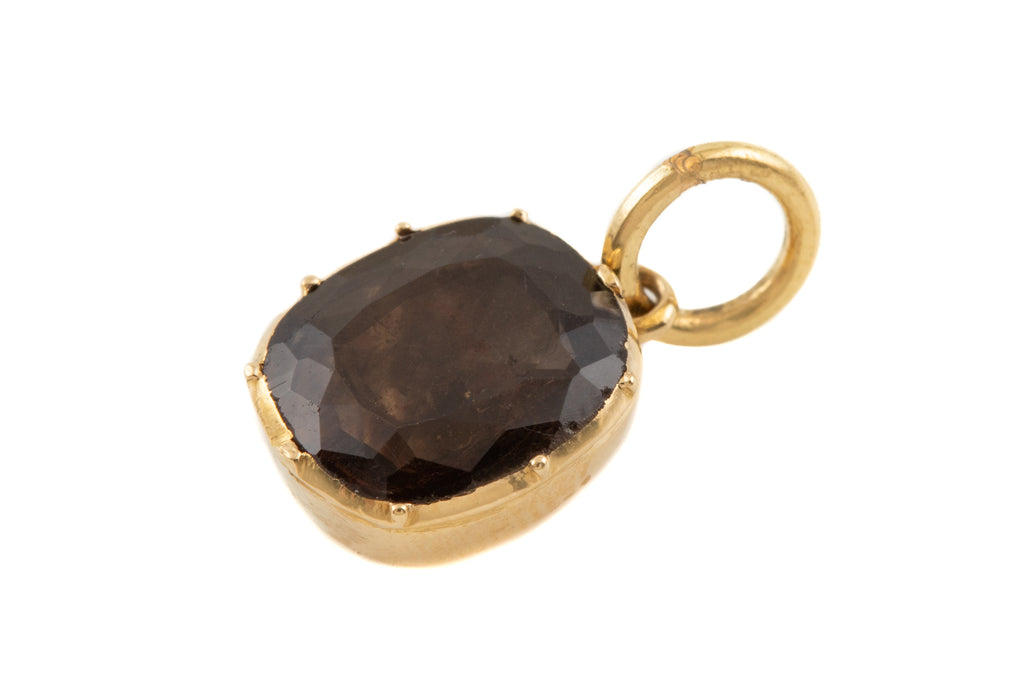 Georgian 15ct Gold Smokey Quartz Charm, (0.80ct)