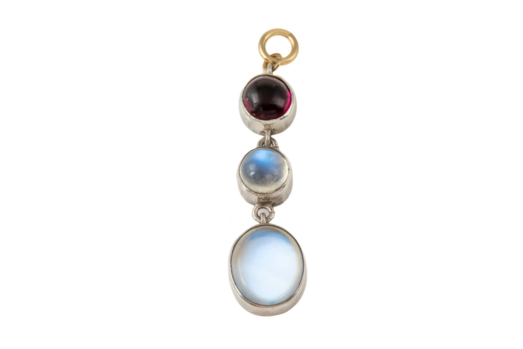 Antique Silver Moonstone Garnet Drop Pendant