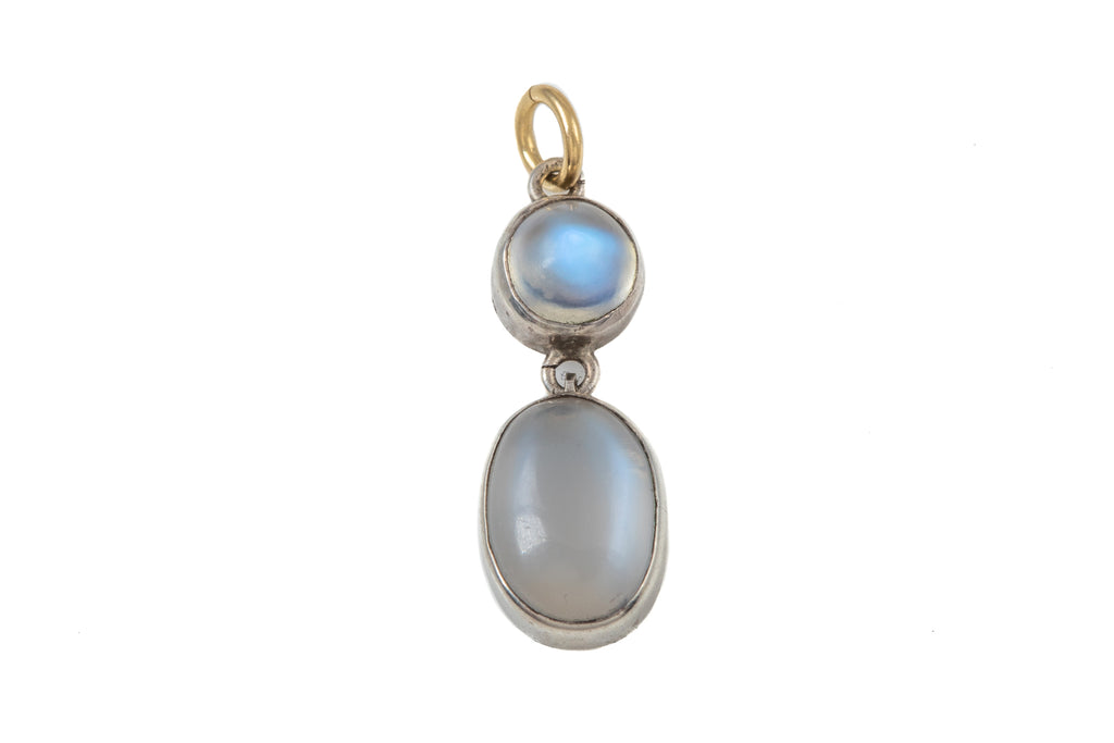 Antique Silver Moonstone Double Drop Pendant (3.3ct)