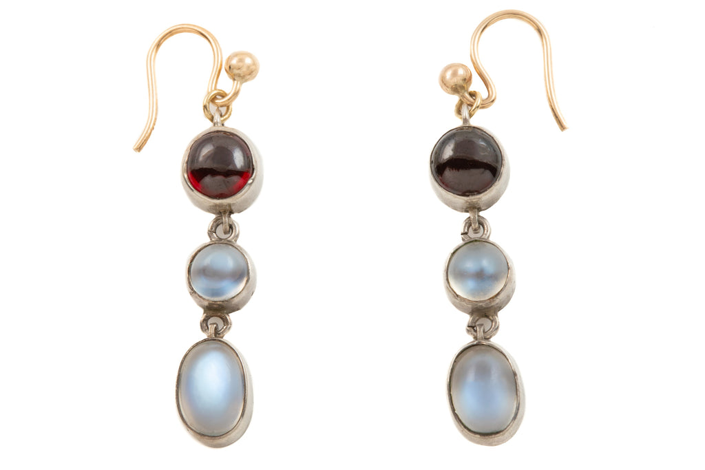 Antique Silver Moonstone Garnet Drop Earrings, (4.00ct)