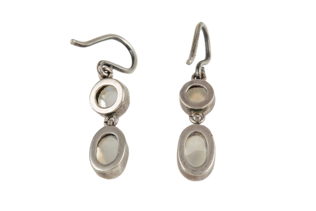 Victorian Silver Moonstone Drop Earrings, (4.00ct)