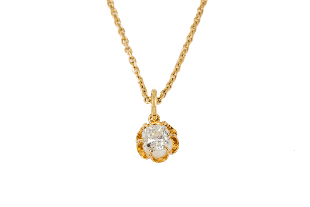 "Antique 15ct Gold Old Cut Diamond Pendant (0.60ct), with 15"" Chain"