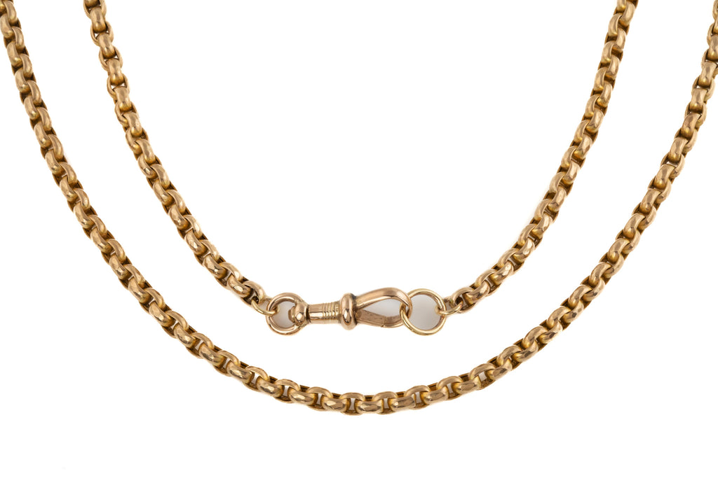"Victorian Chunky Gold Faceted Belcher Chain, 20"" (23g)"
