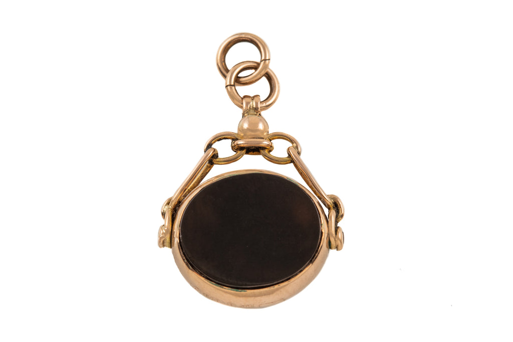 Antique Gold Bloodstone Carnelian Spinner Fob, c.1919