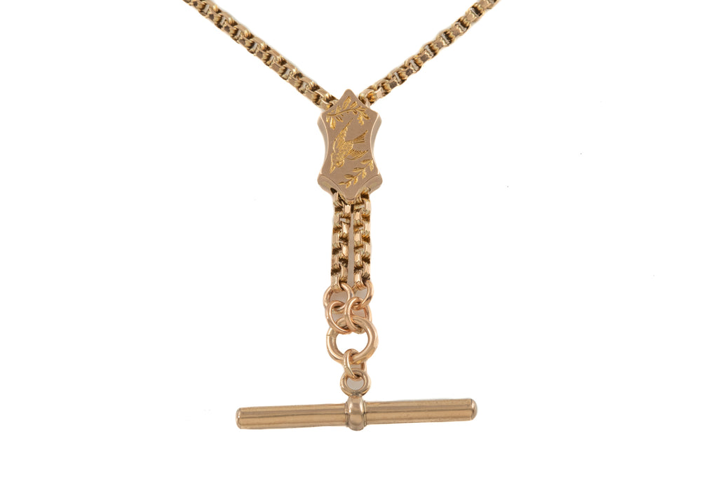 "Victorian Gold T-bar Necklace with Engraved Slider, 20 & 5/8"" (17g)"