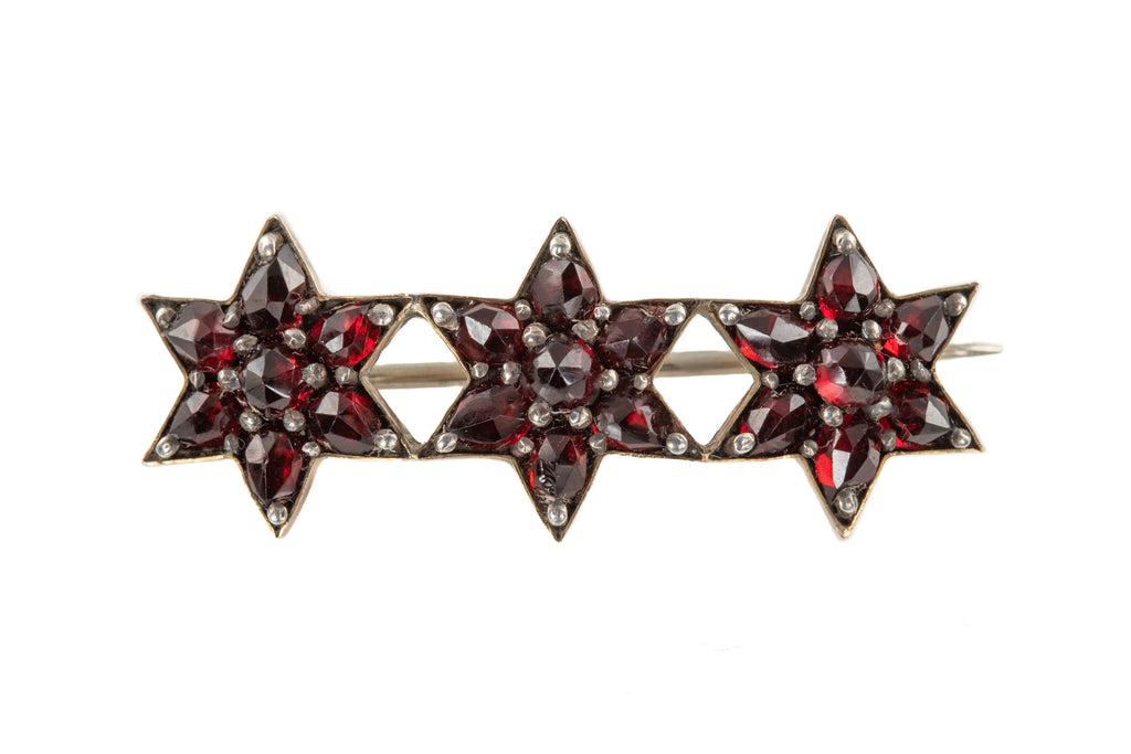 "Victorian Rose Cut Garnet Star Brooch, with Original Box ""Furber & Son"""