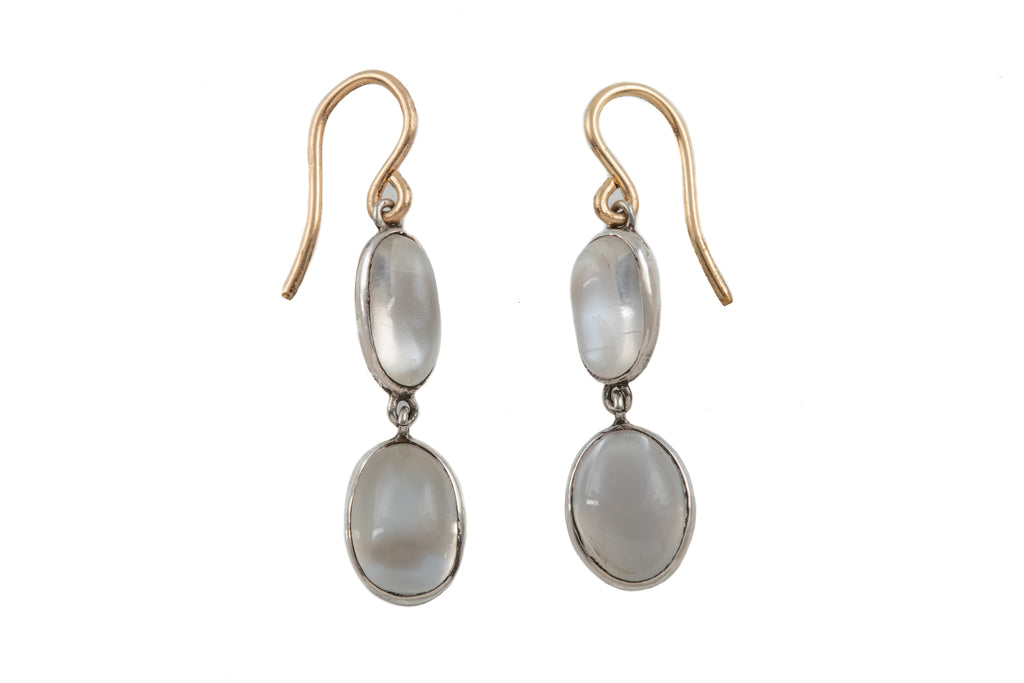 Victorian Silver Moonstone Double Drop Earrings (6.40ct)