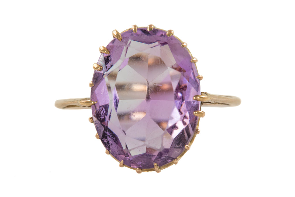 Antique Gold Amethyst Solitaire Ring, (5.30ct)