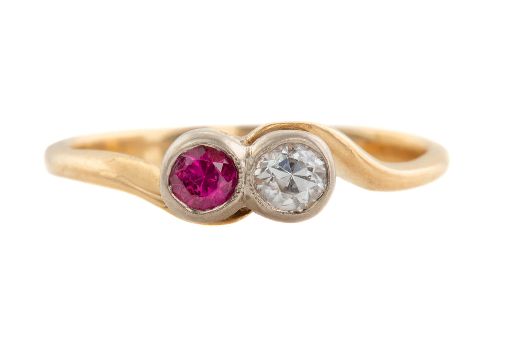 Victorian 18ct Gold Ruby Diamond Toi Et Moi Ring