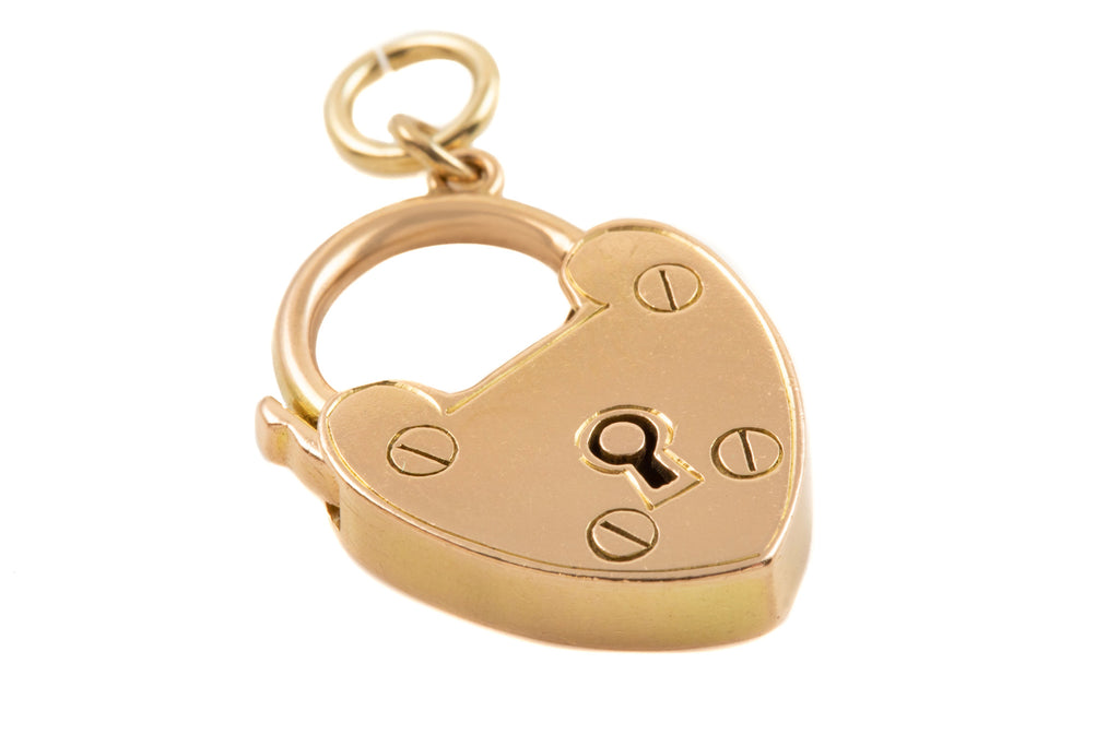 "Victorian 15ct Gold Heart Padlock, ""With Best Wishes"""