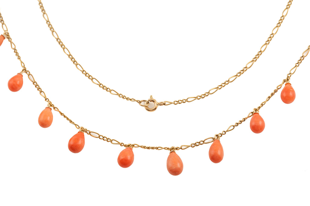 Gold Coral Droplet Fringe Necklace, 18""