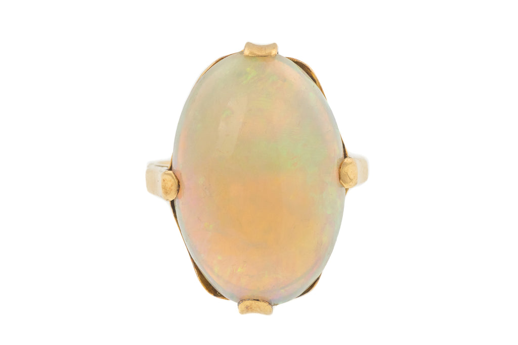 Rare Art Nouveau 18ct Gold Large Opal Ring, (5.80ct)