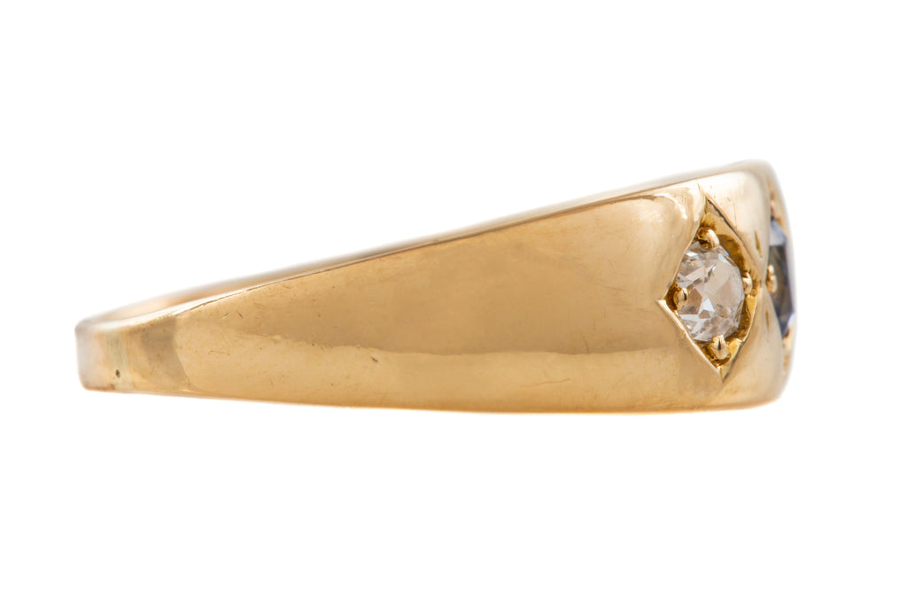 "Victorian 18ct Gold Diamond Sapphire ""Gypsy"" Ring"