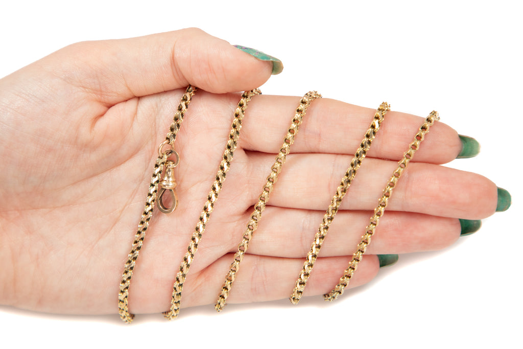 "Victorian Fancy Gold Guard Chain, 53 & 3/4"" (33.6g)"