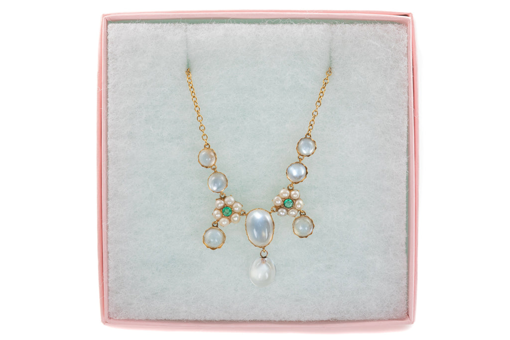 Victorian 15ct Gold Moonstone Pearl Flower Necklace (9.02ct), 15 & 3/4""