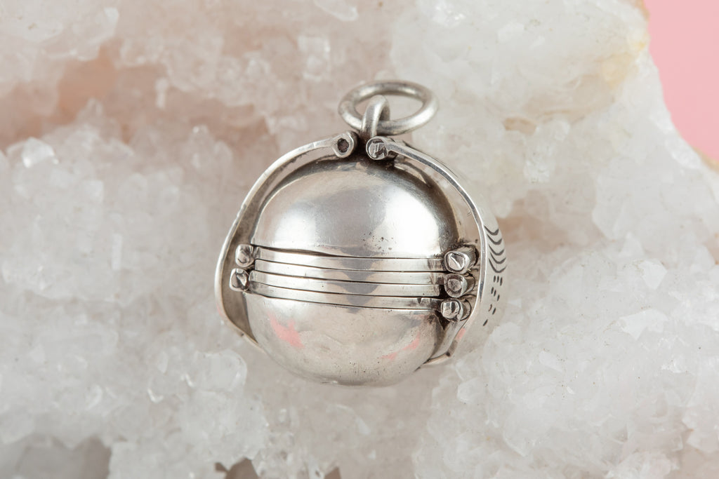 "Rare Antique Silver Orb ""Family"" Locket"