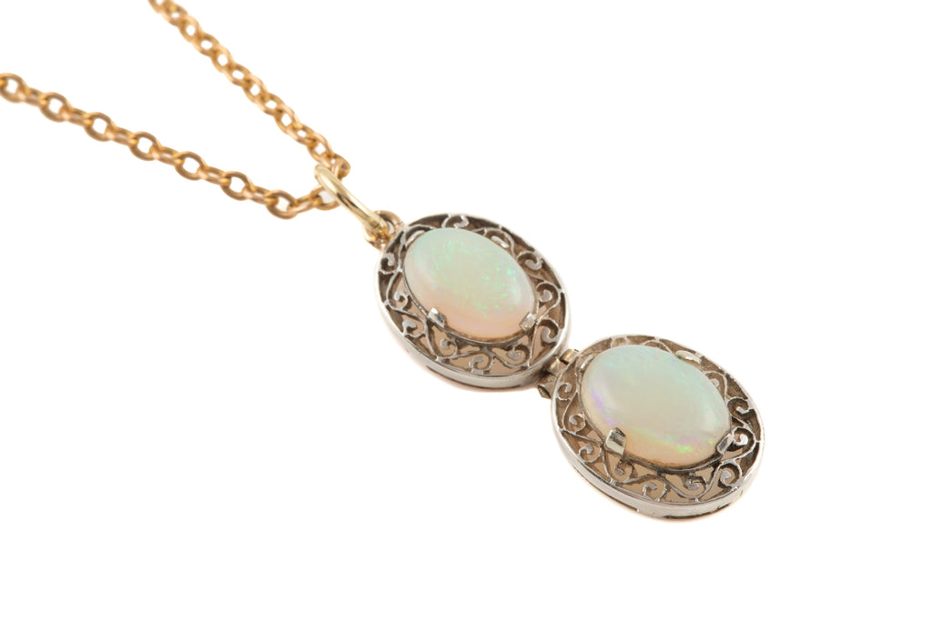 "Art Deco Silver Double Opal Drop Pendant (1.43ct), with 18"" Chain"