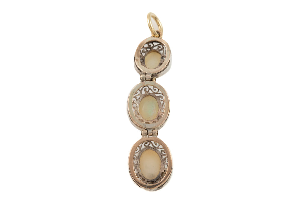 Art Deco Silver Opal Triple Drop Pendant, (1.40ct)