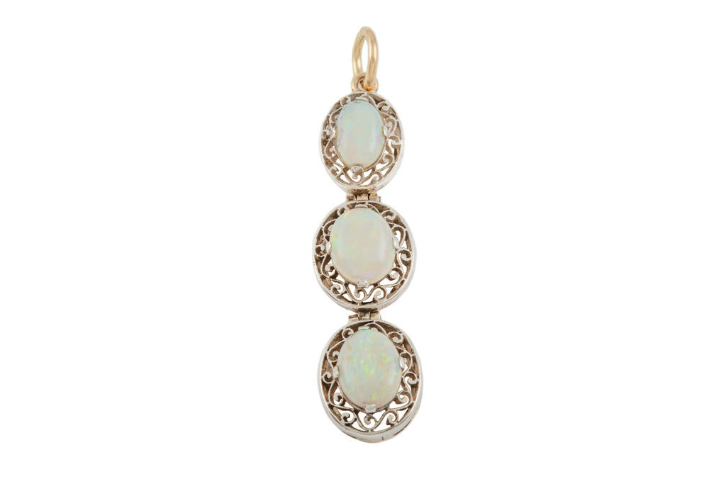 Art Deco Silver Opal Triple Drop Pendant, (1.37ct)